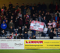 Lincoln City fans during the first half<br /> <br /> Photographer Chris Vaughan/CameraSport<br /> <br /> Vanarama National League - Lincoln City v Chester - Tuesday 11th April 2017 - Sincil Bank - Lincoln<br /> <br /> World Copyright &copy; 2017 CameraSport. All rights reserved. 43 Linden Ave. Countesthorpe. Leicester. England. LE8 5PG - Tel: +44 (0) 116 277 4147 - admin@camerasport.com - www.camerasport.com