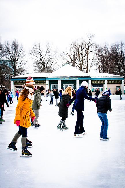 People skating at Frog Pond, Boston Common, MA