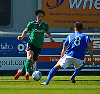 Lincoln City's Alex Woodyard vies for possession with Eastleigh's Ben Close<br /> <br /> Photographer Andrew Vaughan/CameraSport<br /> <br /> Vanarama National League - Eastleigh v Lincoln City - Saturday 8th April 2017 - Silverlake Stadium - Eastleigh<br /> <br /> World Copyright &copy; 2017 CameraSport. All rights reserved. 43 Linden Ave. Countesthorpe. Leicester. England. LE8 5PG - Tel: +44 (0) 116 277 4147 - admin@camerasport.com - www.camerasport.com