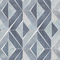 Simone, a waterjet stone mosaic, shown in polished Bardiglio and Pacifica with brushed Aluminum, is part of the Trove Collection for New Ravenna.