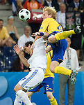 Petter Hansson and Theofanis Gekas at Euro 2008 Greece-Sweden 06102008, Salzburg, Austria