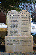 God's Ten Commandments in Salem, Massachusetts, USA during the winter months
