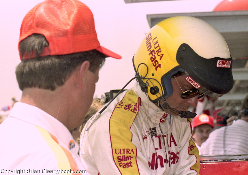 Greg Sacks prepares to relieve driver Jimmy Horton during the Pepsi 400 at Daytona International Speedway, Daytona Beach, FL, July 7, 1990 (Photo by Brian Cleary/www.bcpix.com)