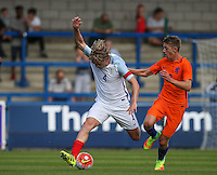 Tom Davies (Everton) of England U19 holds off Mees Hoedemakers (AZ Alkmaar) of Holland during the International match between England U19 and Netherlands U19 at New Bucks Head, Telford, England on 1 September 2016. Photo by Andy Rowland.