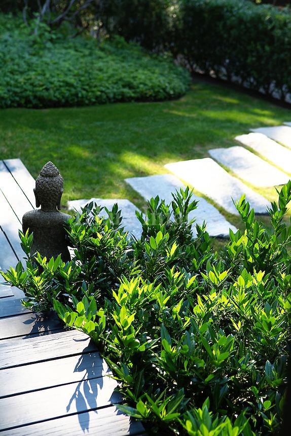 lush garden with stone slabs
