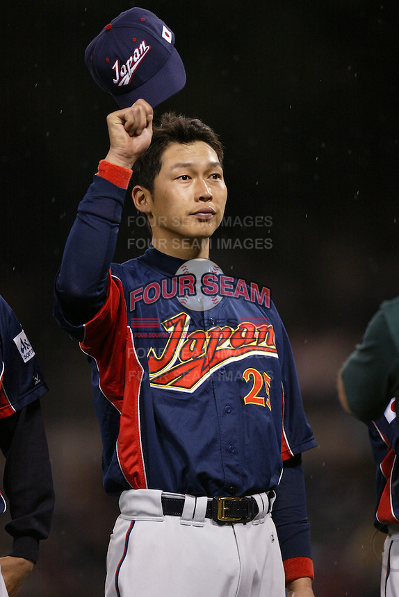 Takahiro Arai of Japan during World Baseball Championship at Angel Stadium in Anaheim,California on March 18, 2006. Photo by Larry Goren/Four Seam Images