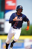 Binghamton Mets right fielder Stefan Sabol (2) running the bases during a game against the Richmond Flying Squirrels on June 26, 2016 at NYSEG Stadium in Binghamton, New York.  Binghamton defeated Richmond 7-2.  (Mike Janes/Four Seam Images)