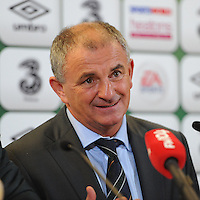 15th October 2013; Republic of Ireland interim manager, Noel King, speaks to the media after his last game in charge. World Cup Qualifier Group C, Republic of Ireland v Kazakhstan, Aviva Stadium, Dublin. Picture credit: Tommy Grealy/actionshots.ie.
