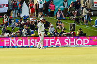 English Tea Shop Signage with Colin De Grandhomme of the Black Caps  during Day 3 of the Second International Cricket Test match, New Zealand V England, Hagley Oval, Christchurch, New Zealand, 1st April 2018.Copyright photo: John Davidson / www.photosport.nz