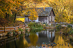 Autumn color at the Stoney Brook Gristmill in Brewster, Cape Cod, Massachusetts, USA