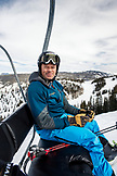 USA, Colorado, Aspen, skier rides on the Ruthie's ski lift, Aspen Ski Resort, Ajax Mountain