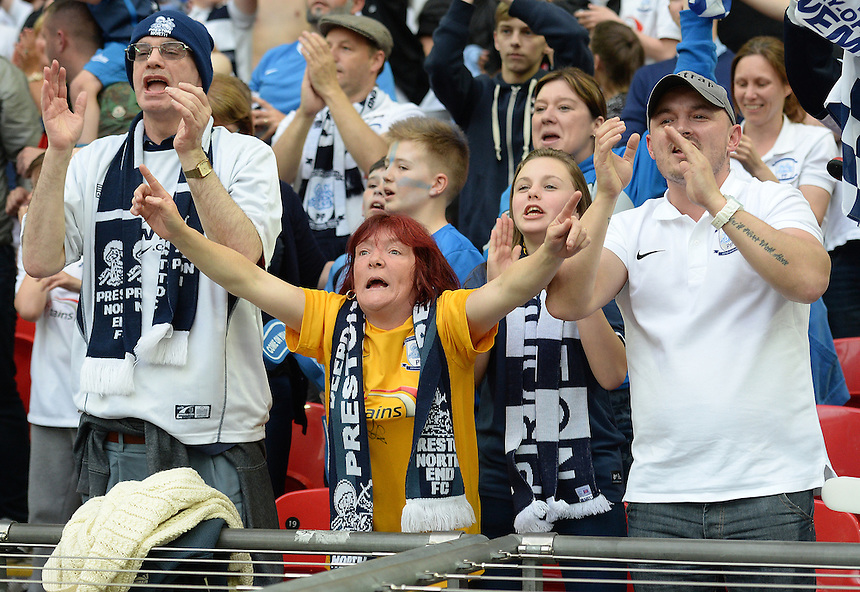 Preston North End fans enjoying themselves in the stadium <br /> <br /> Photographer Ian Cook/CameraSport<br /> <br /> Football - The Football League Sky Bet League One Play-Off Final - Preston North End v Swindon Town - Sunday 24th May 2015 - Wembley Stradium - London<br /> <br /> &copy; CameraSport - 43 Linden Ave. Countesthorpe. Leicester. England. LE8 5PG - Tel: +44 (0) 116 277 4147 - admin@camerasport.com - www.camerasport.com