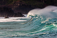 A big hollow wave about to break at Waimea Shorebreak in Waimea Bay, North Shore, O'ahu.
