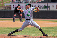 Clinton LumberKings pitcher Sam Delaplane (28) delivers a pitch during a Midwest League game against the Wisconsin Timber Rattlers on April 26, 2018 at Fox Cities Stadium in Appleton, Wisconsin. Clinton defeated Wisconsin 7-3. (Brad Krause/Four Seam Images)