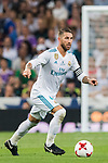 Sergio Ramos of Real Madrid in action during their Supercopa de Espana Final 2nd Leg match between Real Madrid and FC Barcelona at the Estadio Santiago Bernabeu on 16 August 2017 in Madrid, Spain. Photo by Diego Gonzalez Souto / Power Sport Images