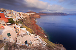 Clouds and rural landscape on Santorini island of greece