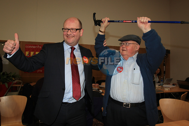 Ged Nash (Lab) celebrating his win with Former TD Michael Bell (LAB).at the louth election count in the DKIT, Dundalk Co Louth..Picture: Fran Caffrey / www.newsfile.ie.