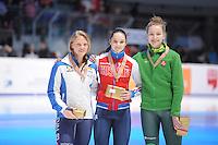 SHORTTRACK: DORDRECHT: Sportboulevard Dordrecht, 25-01-2015, ISU EK Shorttrack, Podium 1000m Ladies, Ariana FONTANA (ITA), Sofia PROSVIRNOVA (RUS), Agne SEREIKAITE (LTU), ©foto Martin de Jong