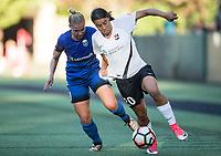 Seattle, WA - Saturday July 22, 2017: Merritt Mathias, Samantha Kerr during a regular season National Women's Soccer League (NWSL) match between the Seattle Reign FC and Sky Blue FC at Memorial Stadium.