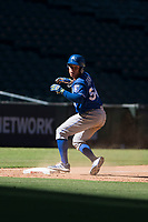 Freddy Fermin (54), of the Kansas City Royals, slides safely into third base during an Instructional League game against the Arizona Diamondbacks at Chase Field on October 14, 2017 in Scottsdale, Arizona. (Zachary Lucy/Four Seam Images)