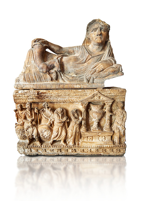 Etruscan Hellenistic style cinerary, funreary, urn , inv no 5774,  National Archaeological Museum Florence, Italy , white background