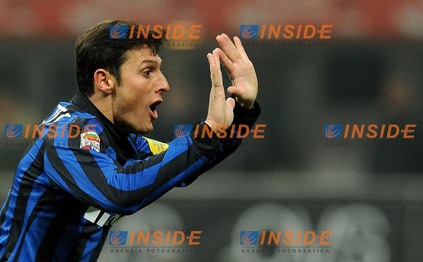 """Javier ZANETTI (Inter).Milano 17/02/2012 Stadio """"Giuseppe Meazza"""".Serie A 2011/2012.Football Calcio Inter Vs Bologna.Foto Insidefoto Alessandro Sabattini."""