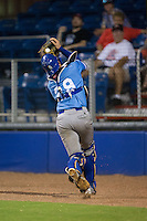 Burlington Royals catcher Chase Livingston (29) catches a pop fly behind home plate during the game against the Danville Braves at American Legion Post 325 Field on August 16, 2016 in Danville, Virginia.  The game was suspended due to a power outage with the Royals leading the Braves 4-1.  (Brian Westerholt/Four Seam Images)
