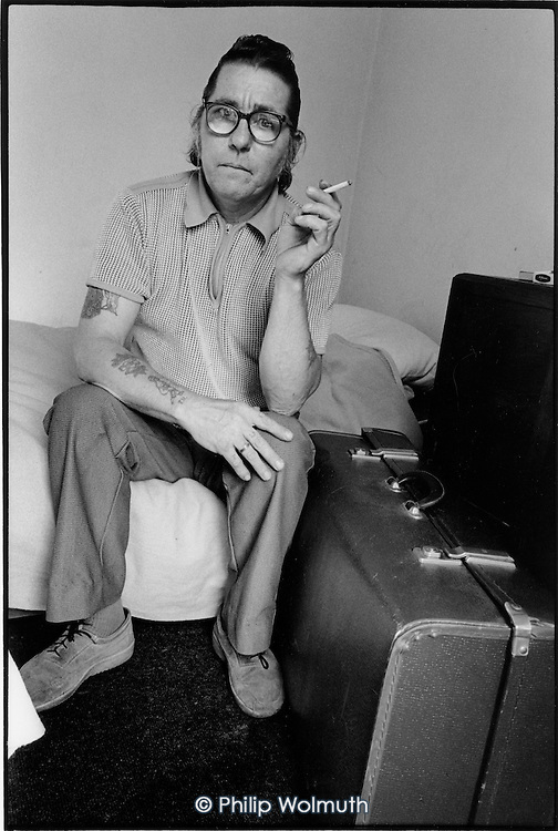 Temporary resident at a Simon Community hostel, King's Cross, London 1990.