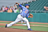 Tennessee Smokies starting pitcher Andres Santiago (23) delivers a pitch during a game against the Birmingham Barons on August 2, 2015 in Kodak, Tennessee. The Smokies defeated the Barons 5-2. (Tony Farlow/Four Seam Images)