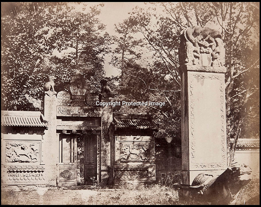 BNPS.co.uk (01202 558833)<br /> Pic: FeliceBeato/BNPS<br /> <br /> ****Please use full byline****<br /> <br /> Cemetery near Pekin.<br /> <br /> Some of the very first photographs of China that showed the western world what the Far East looked like are tipped to sell for £70,000.<br /> <br /> The photos were shot by renowned photographer Felice Beato who travelled with the British Army during the Indian Rebellion and the Second Opium War in China.<br /> <br /> He captured the Imperial Summer Palace in Beijing before it was destroyed by fire by Empire forces.<br /> <br /> His snaps also include a folding panorama view of Hong Kong harbour, the Forbidden City in Peking, a pagoda and grim images of slain Chinese soldiers at a fort.