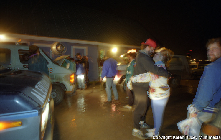 Closing time outside the Elbow Room after red King Crab season in Dutch harbor, Alaska in Nov 1993.