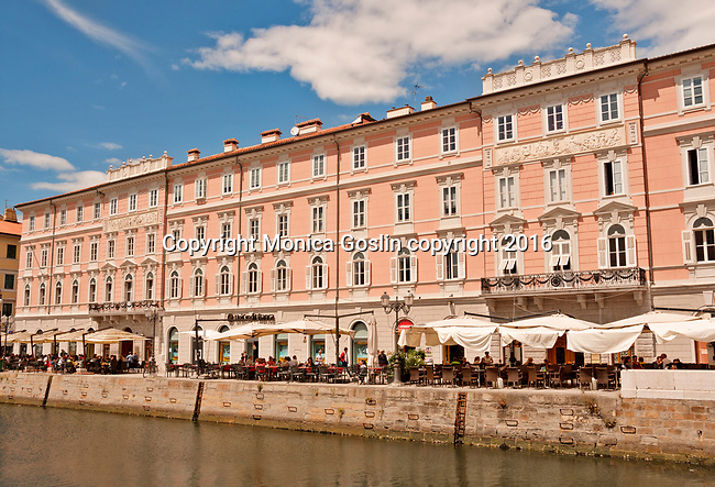 Cafes along the Canal Grande in Trieste, Italy
