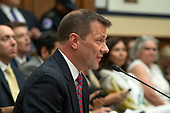 "FBI Deputy Assistant Director Peter Strzok testifies during a joint hearing of the United States House Committee on the Judiciary and the US House Committee on Oversight and Government Reform on ""Oversight of FBI and DOJ Actions Surrounding the 2016 Election"" on Capitol Hill in Washington, DC on Thursday, July 12, 2018. <br /> Credit: Ron Sachs / CNP<br /> (RESTRICTION: NO New York or New Jersey Newspapers or newspapers within a 75 mile radius of New York City)"