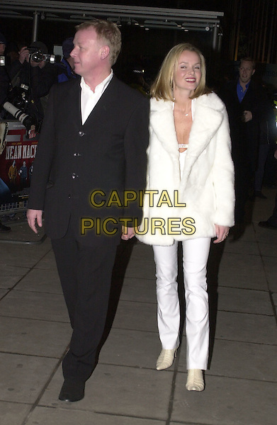 "LES DENNIS & AMANDA HOLDEN.Arrivals at film premiere of ""Mean Machine"", London, .18th December 2001..full length white fur coat low cut plunging neckline ex celebrity couple.Ref: HT.www.capitalpictures.com.sales@capitalpictures.com.©Capital Pictures."
