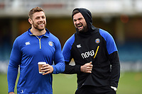 Dave Attwood and Elliott Stooke of Bath Rugby. Heineken Champions Cup match, between Bath Rugby and Wasps on January 12, 2019 at the Recreation Ground in Bath, England. Photo by: Patrick Khachfe / Onside Images