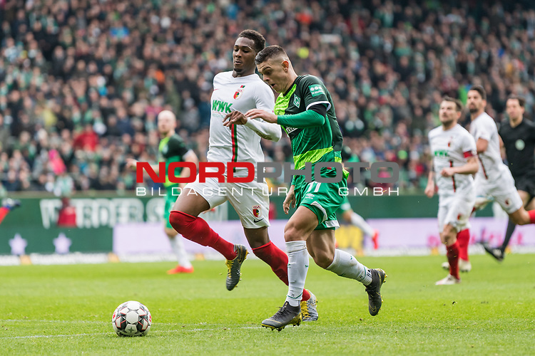 10.02.2019, Weserstadion, Bremen, GER, 1.FBL, Werder Bremen vs FC Augsburg<br /> <br /> DFL REGULATIONS PROHIBIT ANY USE OF PHOTOGRAPHS AS IMAGE SEQUENCES AND/OR QUASI-VIDEO.<br /> <br /> im Bild / picture shows<br /> Milot Rashica (Werder Bremen #11) spielt ReeceOxford (FC Augsburg #05) aus und trifft im Anschluss zum 3:0, Entstehung, <br /> <br /> Foto &copy; nordphoto / Ewert