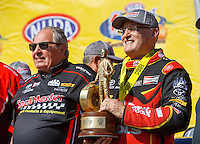 May 15, 2016; Commerce, GA, USA; NHRA top fuel driver Doug Kalitta (right) celebrates with team owner Connie Kalitta after winning the Southern Nationals at Atlanta Dragway. Mandatory Credit: Mark J. Rebilas-USA TODAY Sports