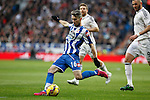 Real Madrid´s Karim Benzema (R) and Deportivo de la Courna´s Luisinho during La Liga match at Santiago Bernabeu stadium in Madrid, Spain. February 14, 2015. (ALTERPHOTOS/Victor Blanco)