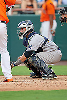 Trenton Thunder catcher Francisco Diaz (10) waits to receive a pitch during the first game of a doubleheader against the Bowie Baysox on June 13, 2018 at Prince George's Stadium in Bowie, Maryland.  Trenton defeated Bowie 4-3.  (Mike Janes/Four Seam Images)