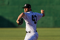 Jackson Generals pitcher Matt Peacock (43) delivers a pitch during a Southern League game against the Biloxi Shuckers on June 13, 2019 at The Ballpark at Jackson in Jackson, Tennessee. Jackson defeated Biloxi 5-4. (Brad Krause/Four Seam Images)
