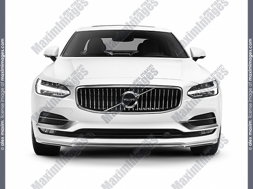White 2017 Volvo S90 T6 AWD luxury car front view isolated on white background with clipping path