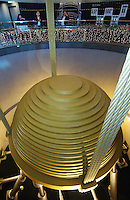 The Taipei 101 tower in Taipei, Taiwan, features a 730-ton pendulum, known as a tuned mass damper on its upper floors to counteract sway created by high winds. At 508m, Taipei 101 is the world's highest building..