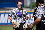 21 MAY 2016:  Hillary Carpenter (1) of the University of North Alabama is congratulated by Carmen Whitfield (9) against Humboldt State University during the Division II Women's Softball Championship held at the Regency Athletic Complex on the Metro State University campus in Denver, CO.  North Alabama defeated Humboldt State 4-1 to win the national title.  Jamie Schwaberow/NCAA Photos
