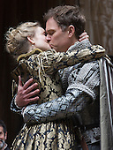 London, UK. 25 April 2015. Rachel Pickup as Portia and Daniel Lapaine as Bassanio. William Shakespeare's The Merchant of Venice is performed at Shakespeare's Globe, Globe Theatre, from 23 April - 7 June 2015. With Daniel Lapaine as Bassanio, Rachel Pickup as Portia and Jonathan Pryce as Shylock. Photo: Bettina Strenske