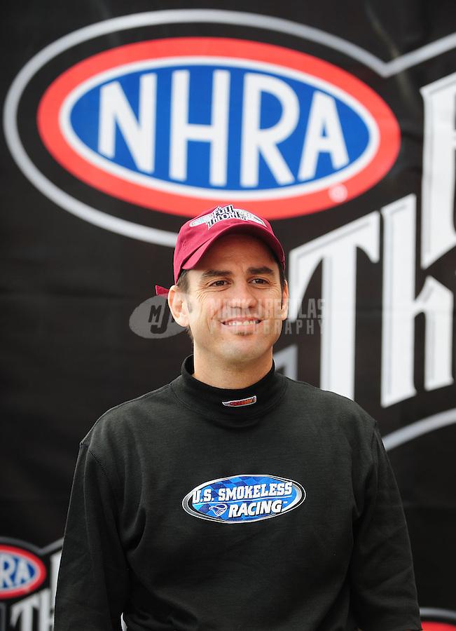 Nov. 2, 2008; Las Vegas, NV, USA: NHRA top fuel dragster driver Larry Dixon during the Las Vegas Nationals at The Strip in Las Vegas. Mandatory Credit: Mark J. Rebilas-