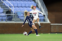 CHAPEL HILL, NC - NOVEMBER 16: Niki Clements #18 of Belmont University and Lois Joel #27 of the University of North Carolina challenge for the ball during a game between Belmont and North Carolina at UNC Soccer and Lacrosse Stadium on November 16, 2019 in Chapel Hill, North Carolina.