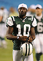 SANTONIO HOLMES, of the New York Jets in action during the Jets game against the Carolina Panthers  at Bank of America Stadium in Charlotte, N.C.  on August 21, 2010.  The Jets beat the Panthters 9-3 in the second week of preseason games...