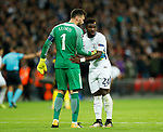 Tottenham's Hugo Lloris speaks to Serge Aurier during the champions league match at Wembley Stadium, London. Picture date 13th September 2017. Picture credit should read: David Klein/Sportimage