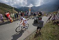 Thibaut Pinot (FRA/FDJ) passes 2nd up the Col d'Allos (1C/2250m/14km/5.5%)<br /> <br /> stage 17: Digne-les-Bains - Pra Loup (161km)<br /> 2015 Tour de France
