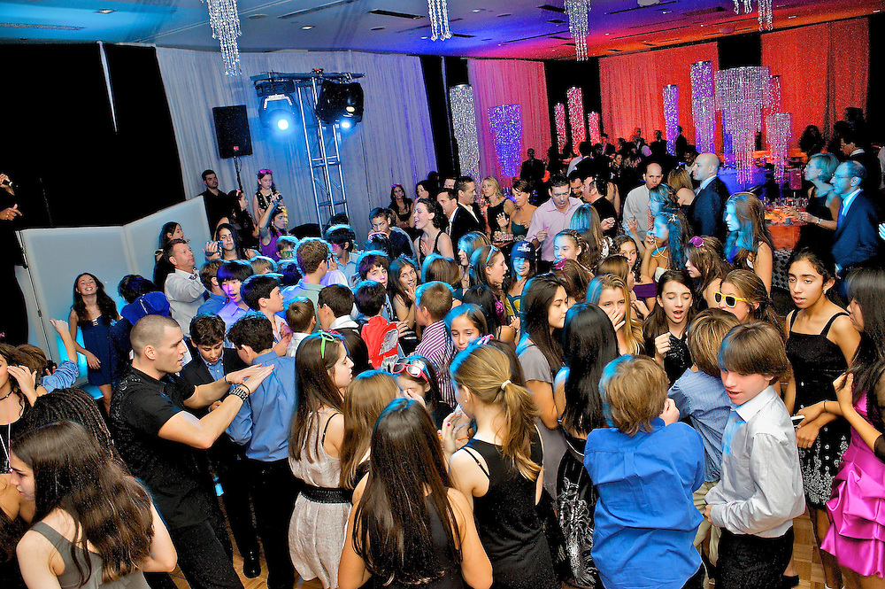 The packed dance floor at a New York Mitzvah party